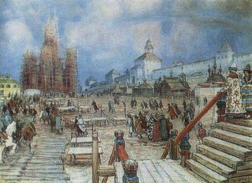 За стенами Кремля воздвигается храм Василия Блаженого
