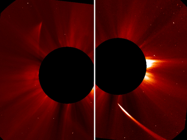 Комета замечена на снимке, сделанном SOHO (левое фото). На правом - комета подлетает к Солнцу