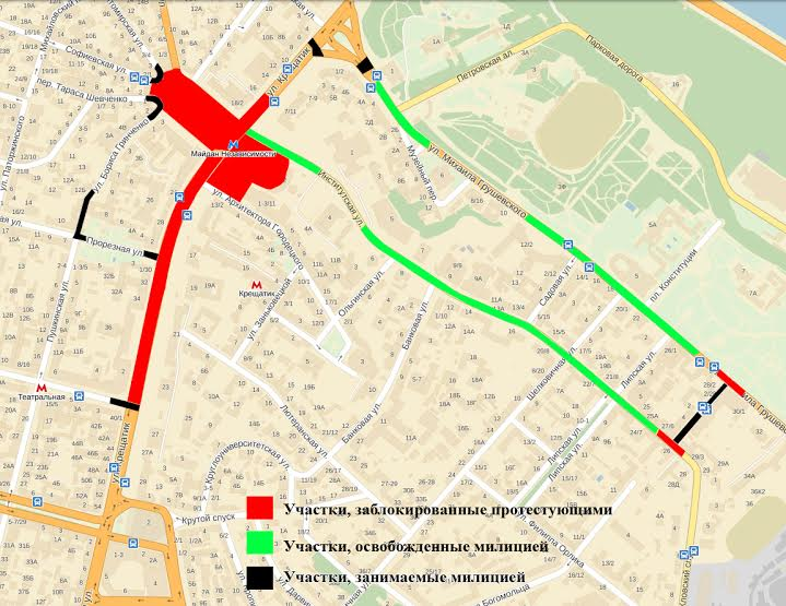 Карта майдана по состоянию на 20.00 (22.00 мск)