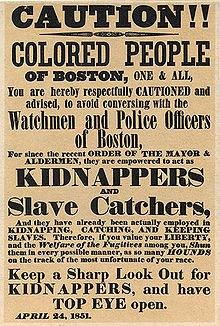 Плакат в Бостоне, предупреждающий негров о действиях полиции, занимающейся поимкой беглых рабов. 24 апреля 1851 год