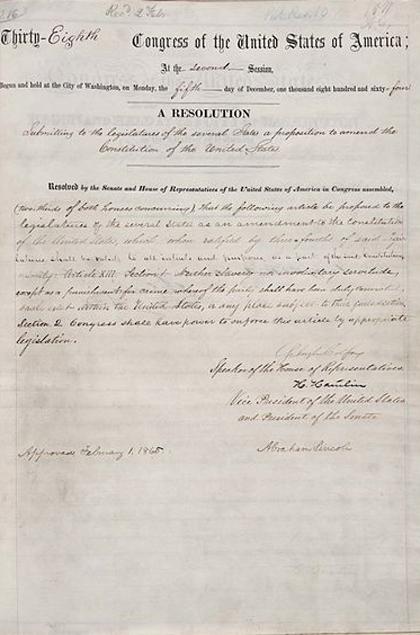 XIII поправка конституции была принята 31 января 1865 года