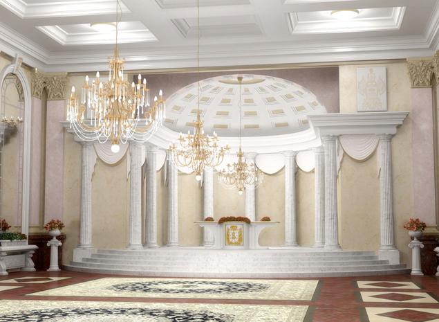 Так выглядит главный зал нового дворца бракосочетаний