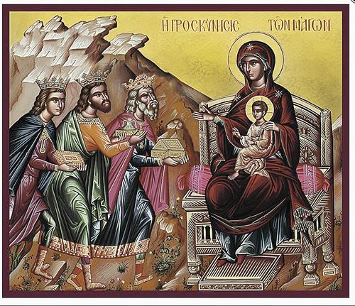 Волхвы Каспар, Валтасар и Мельхиор нашли дорогу к младенцу Иисусу попутеводной Вифлеемской звезде.