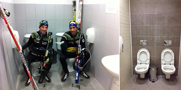 И, наконец, главный олимпийский гвоздь - спаренные туалеты