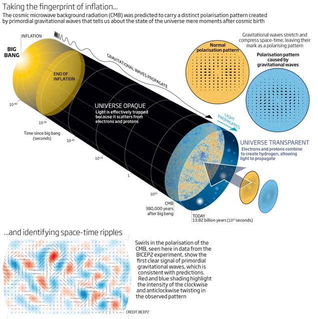 Расширяющаяся ранняя Вселенная, образованная Большим взрывом, породила первичные гравитационные волны, которые поляризовали особым образом реликтовое излучение.