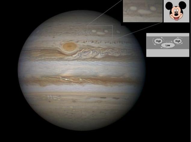 Циклон и антициклоны сошлись на Юпитере так, что