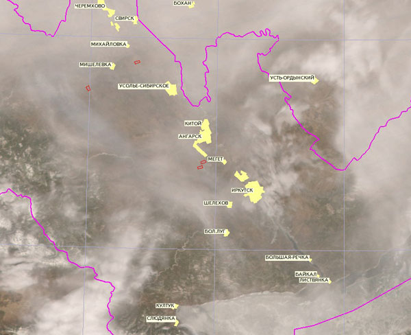Спутники Terra и Aqua сфотографировали из космоса пожары вокруг Байкала: 6 апреля.