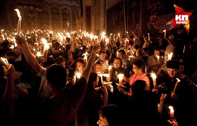 В храме Гроба Господня в Иерусалиме  произошло чудо схождения Благодатного огня