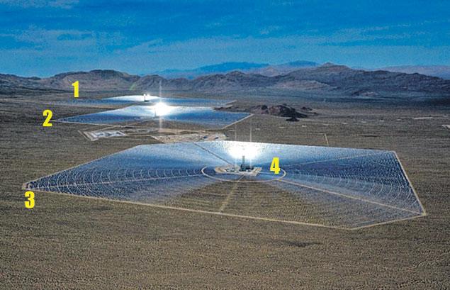 Станция состоит из трех энергоблоков (обозначены цифрами 1, 2, 3). Каждый из них представляет собой огромное поле зеркал, в центре которого установлена башня с теплоприемником (4).