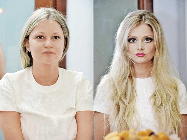 Слева - Аня до эксперимента. А вот во что ее превратили стилист и ретушер.