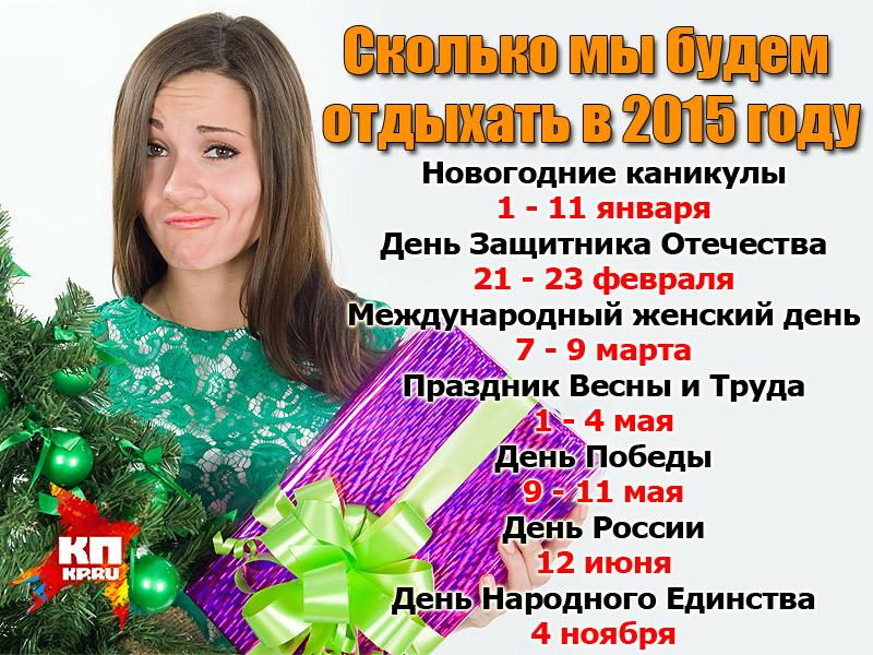 В 2015 году новогодние каникулы продлятся -11 дней!!! .  А в мае нас ждут целых семь праздничных дней В пятницу, 27...
