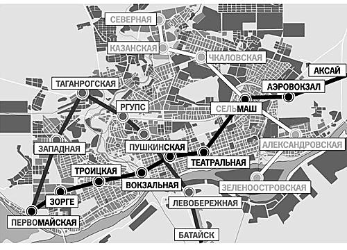 Но это очень дорогостоящий проект: прокладка каждого километра метро...  Одна из возможных схем Ростовского метро.