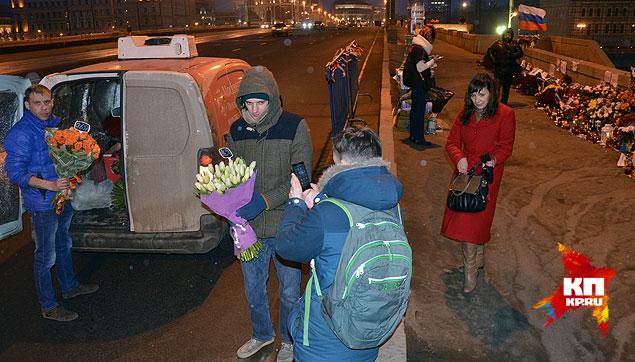 Цветы к месту убийства Немцова везут под отчет и по расписанию