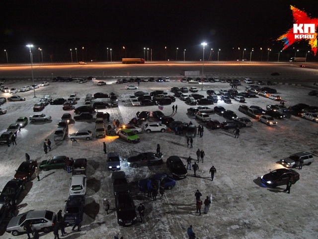 Новогодний автомобильный флешмоб в Воронеже
