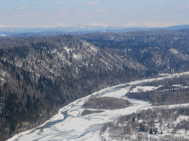 Облет территорий Кузбасса во время паводка
