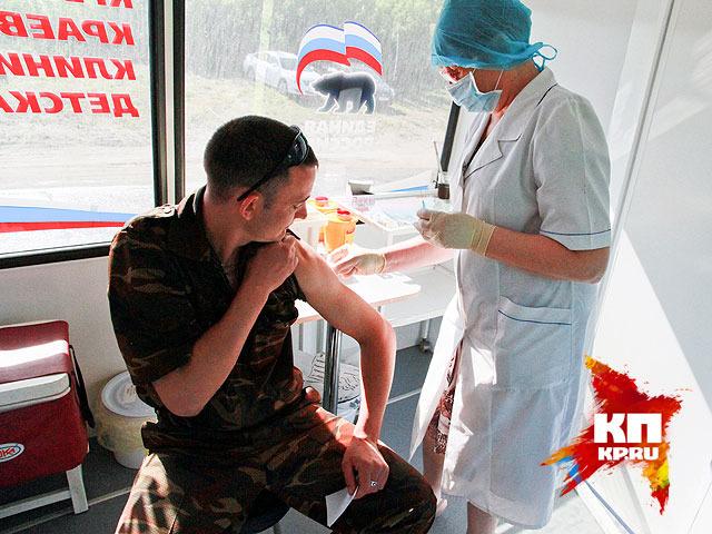 Вакцинация в барнаульском поселке Ильича (июнь 2014 года)