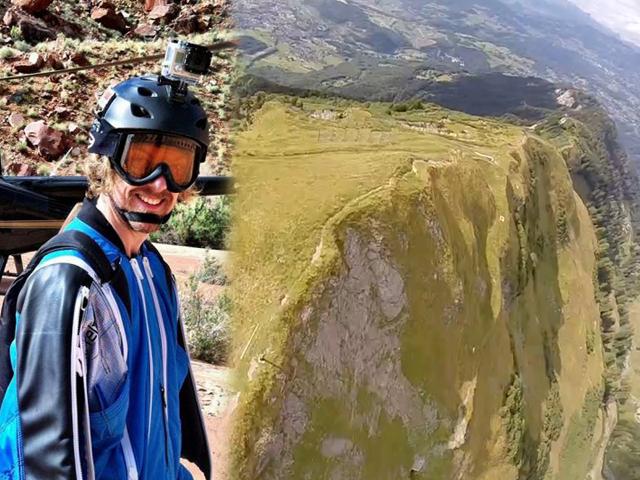 Экстремал снял на видео свой полет с вершины Альп
