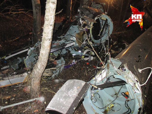 Видео с места крушения вертолета в Нижегородской области