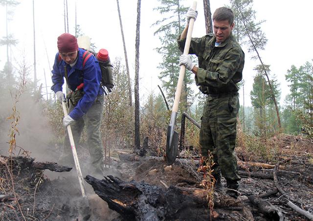 Добровольцы тушат пожары на Байкале