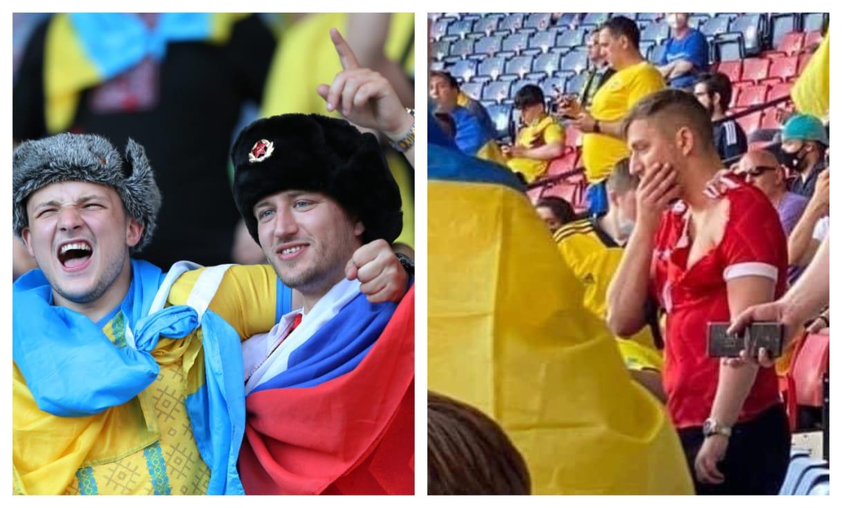 Российскому болельщику досталось за нахождение на трибуне Украине с российским флагом. Фото: Twitter Ofnews