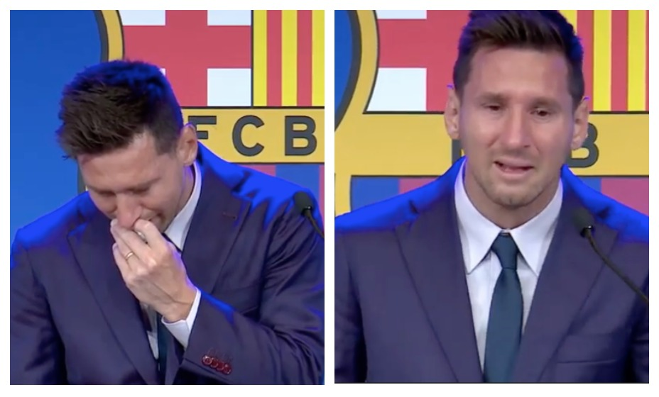 Лионель Месси не смог сдержать слез на прощальной пресс-конференции. Интересно, видел ли он первый матч нового сезона бывшего клуба. Фото: YouTube-канал FC Barcelona